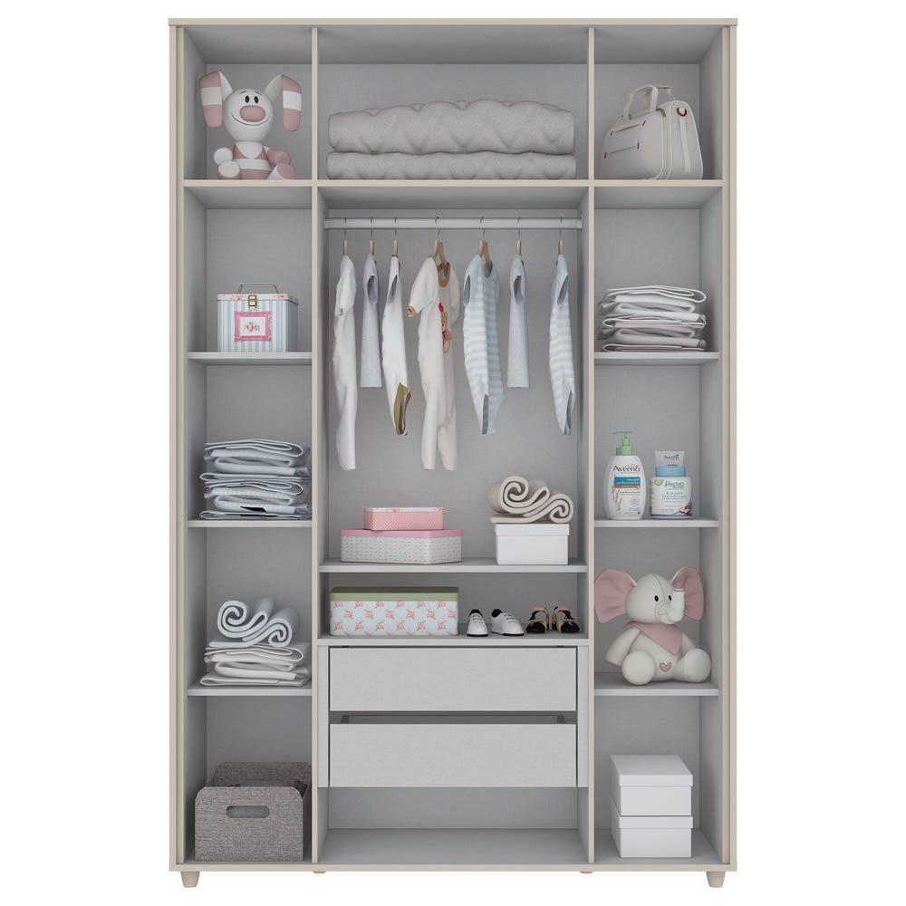 Guarda-roupa Infantil 4 Portas Aquarela Henn - Cristal/Branco  - LOJA VENEZA