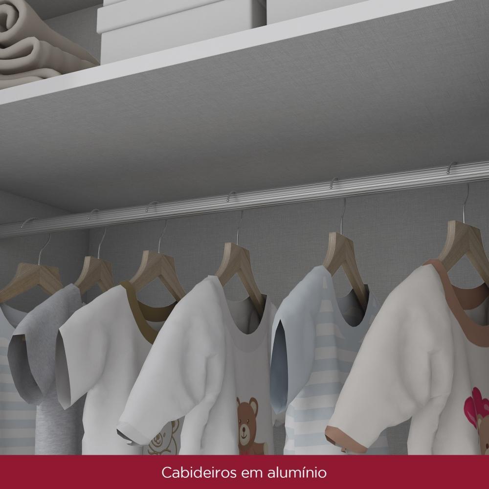 Guarda-roupa Infantil de MDF 4 Portas Henn Bambolê - Branco