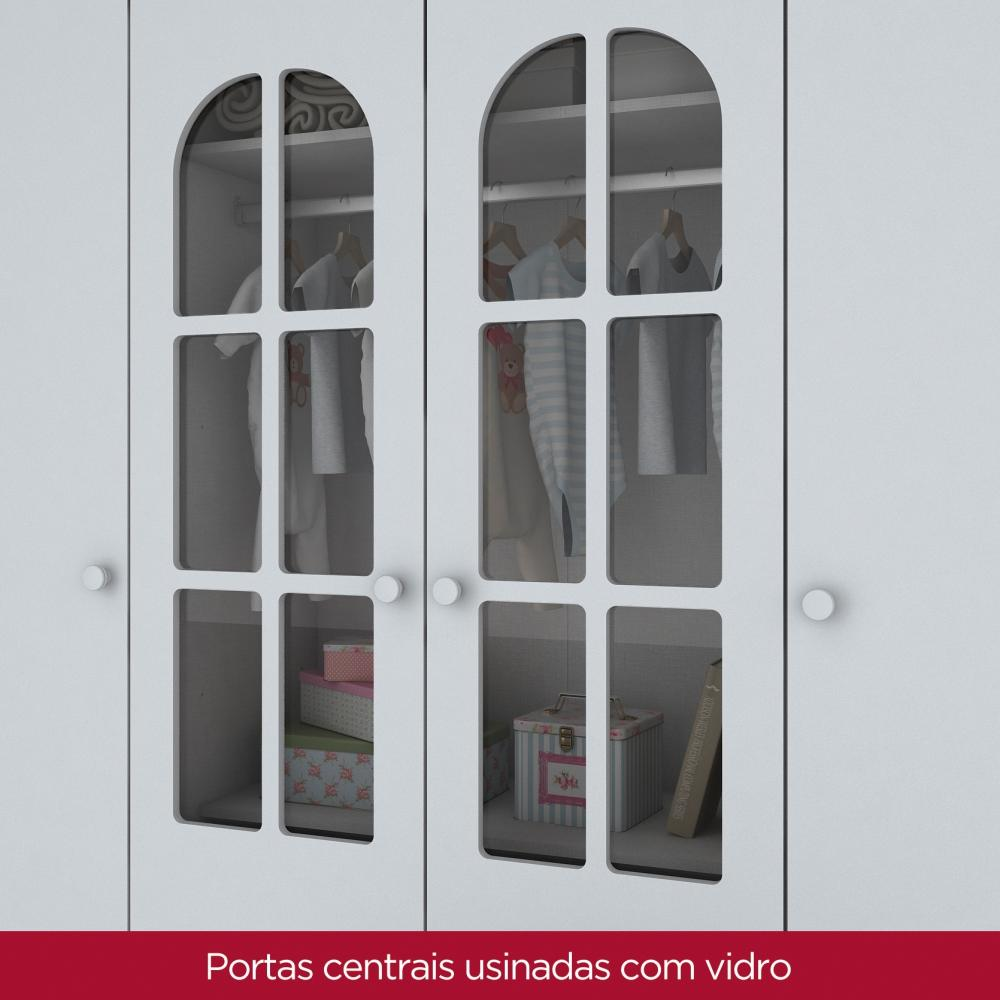 Guarda roupa Infantil de MDF 4 Portas Henn Provençal - Rustico/Branco HP  - Loja Veneza
