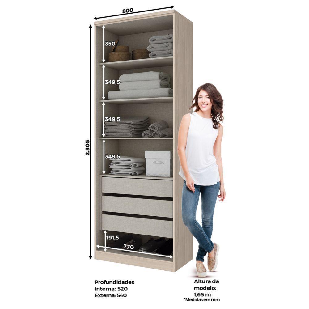 Guarda-roupa Modulado 2 Portas com Espelho 3 Gavetas Henn Diamante - Fendi  - LOJA VENEZA