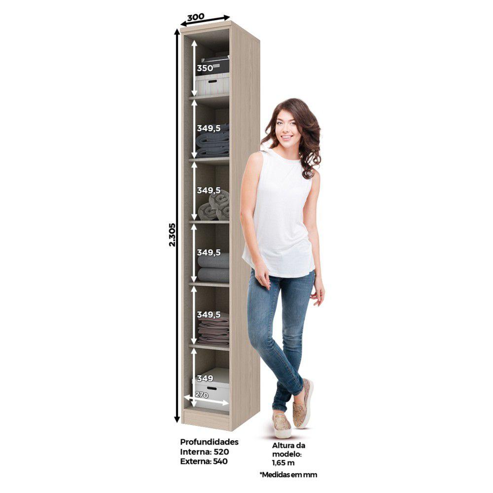 Guarda-roupa Modulado 30cm 1 Porta Henn Diamante - Fendi/Branco HP  - Loja Veneza