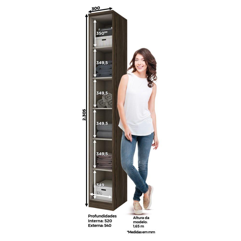 Guarda-roupa Modulado 30cm 1 Porta Henn Diamante - Moka/Fendi  - Loja Veneza