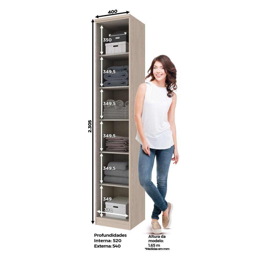 Guarda-roupa Modulado 40cm 1 Porta Henn Diamante - Fendi/Branco HP  - Loja Veneza