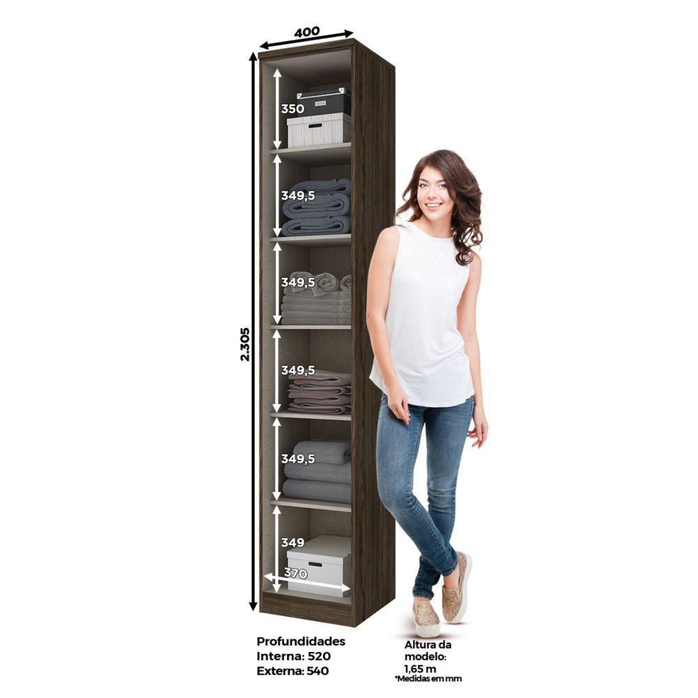 Guarda-roupa Modulado 40cm 1 Porta Henn Diamante - Moka/Fendi  - Loja Veneza