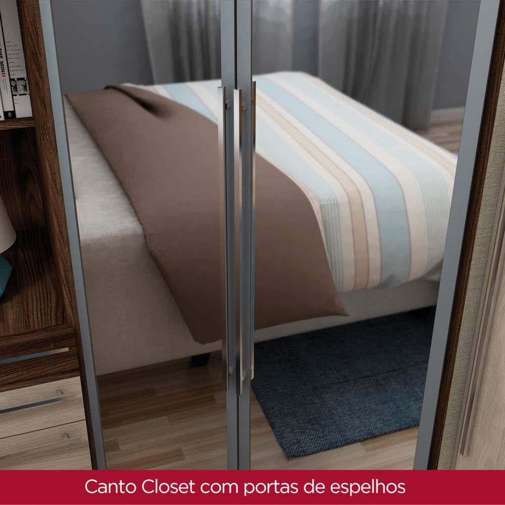 Guarda-roupa Modulado Closet de Canto 2 Portas com Espelho Henn Diamante - Moka  - Loja Veneza