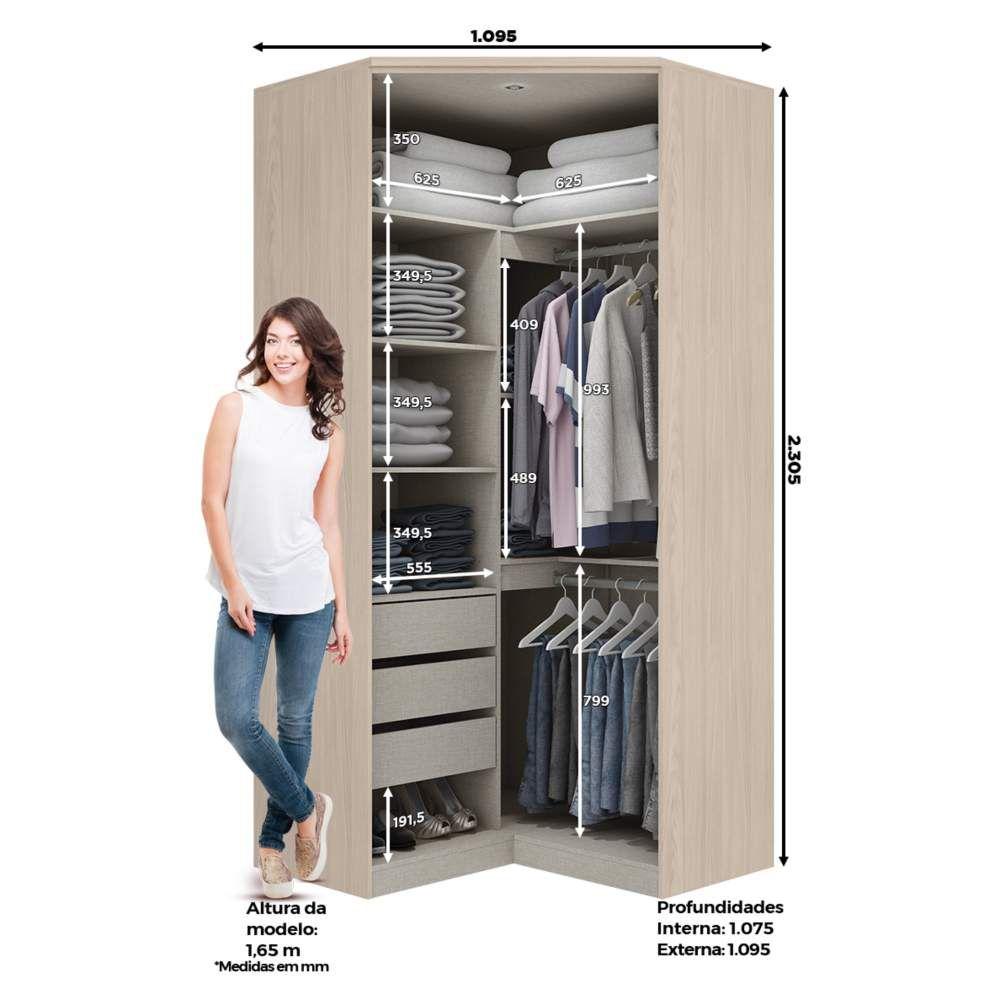 Guarda-roupa Modulado Closet de Canto 2 Portas Henn Diamante - Fendi/Branco HP