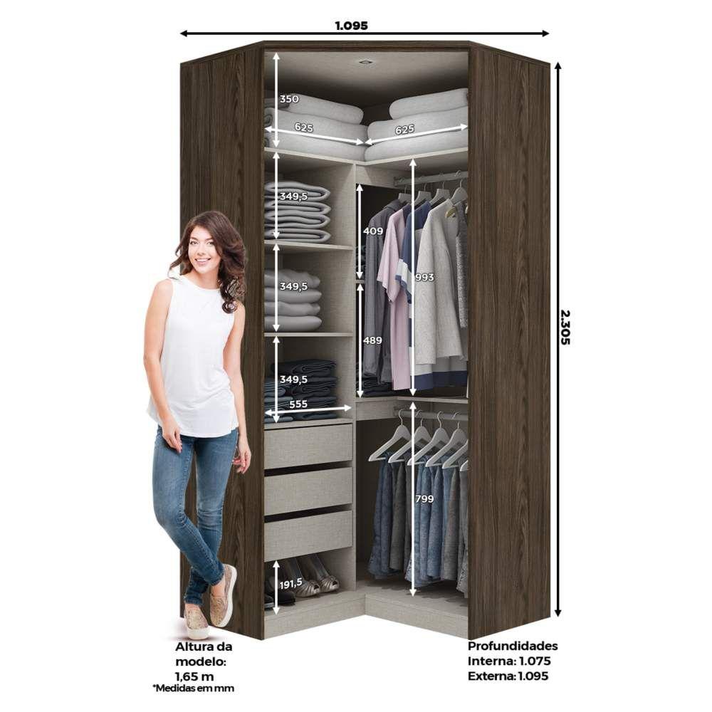 f8a396bf2 ... Guarda-roupa Modulado Closet de Canto 2 Portas Henn Diamante - Moka ...