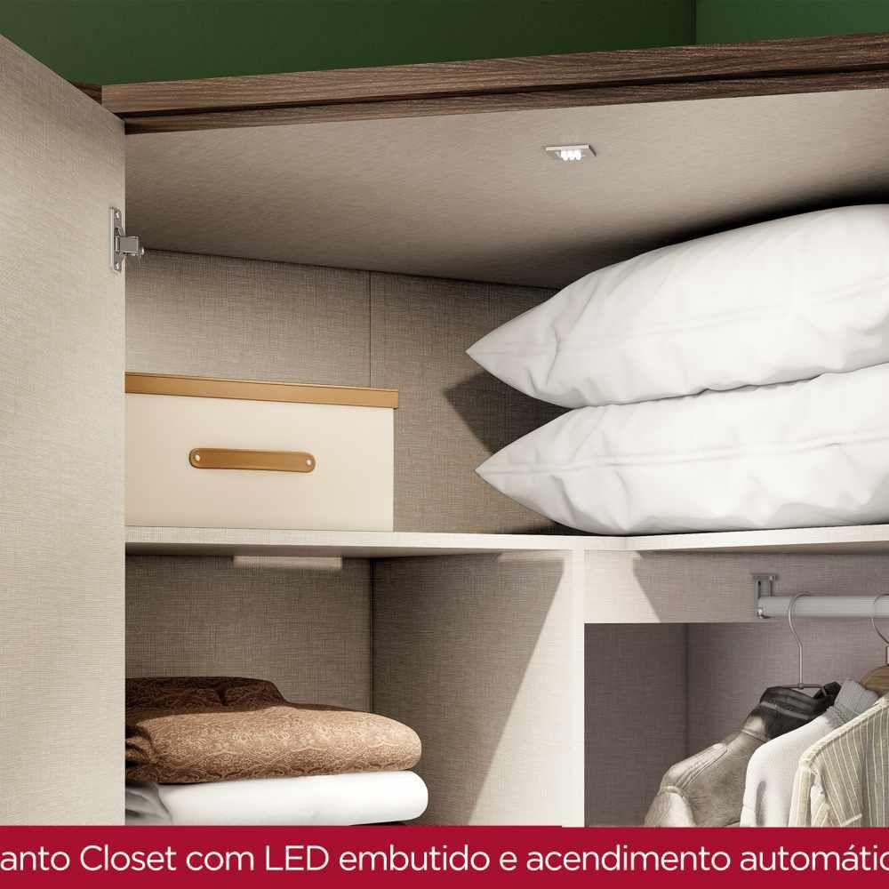 Guarda-roupa Modulado Closet de Canto 2 Portas Henn Diamante - Moka  - Loja Veneza