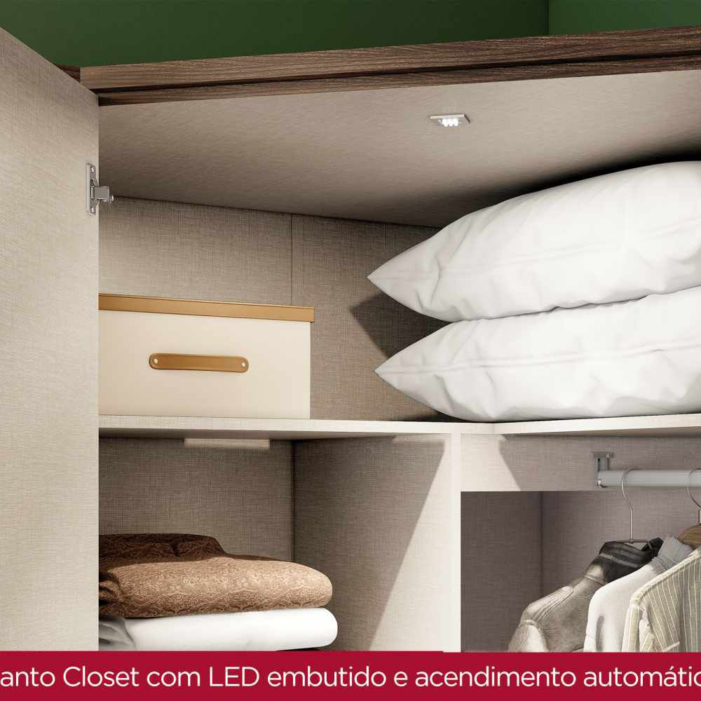 Guarda-roupa Modulado Closet de Canto 2 Portas Henn Diamante - Moka/Fendi  - Loja Veneza