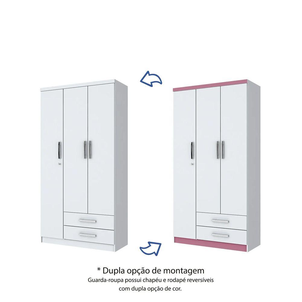Guarda-roupa Solteiro 3 Portas 2 Gavetas Henn Açaí - Flex Color Branco/Rosa  - LOJA VENEZA
