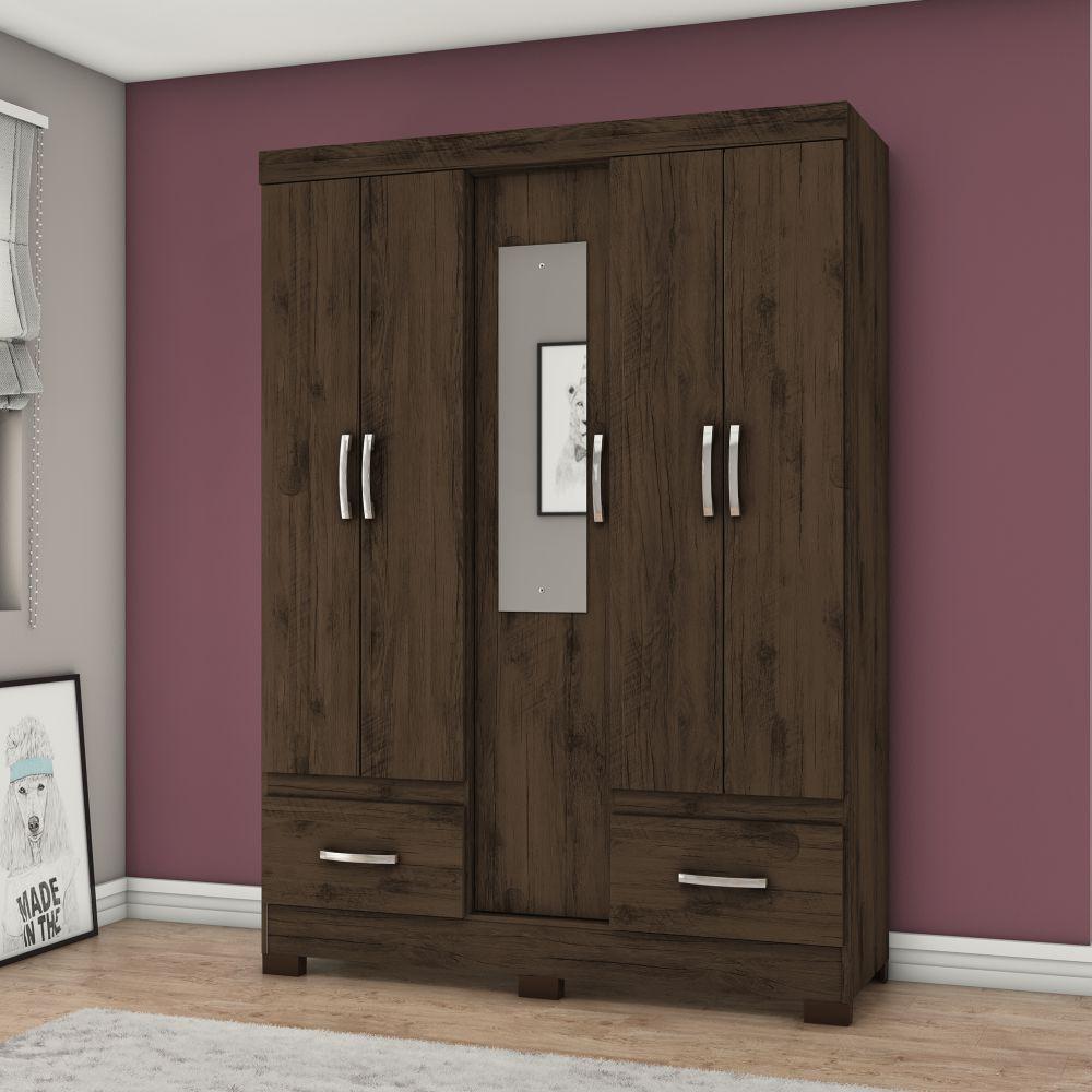 Guarda-roupa Solteiro com Espelho 5 Portas 2 Gavetas Henn Briz B60 - Café  - LOJA VENEZA
