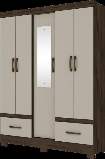 Guarda-roupa Solteiro com Espelho 5 Portas 2 Gavetas Henn Briz B60 - Café/Cristal  - Loja Veneza