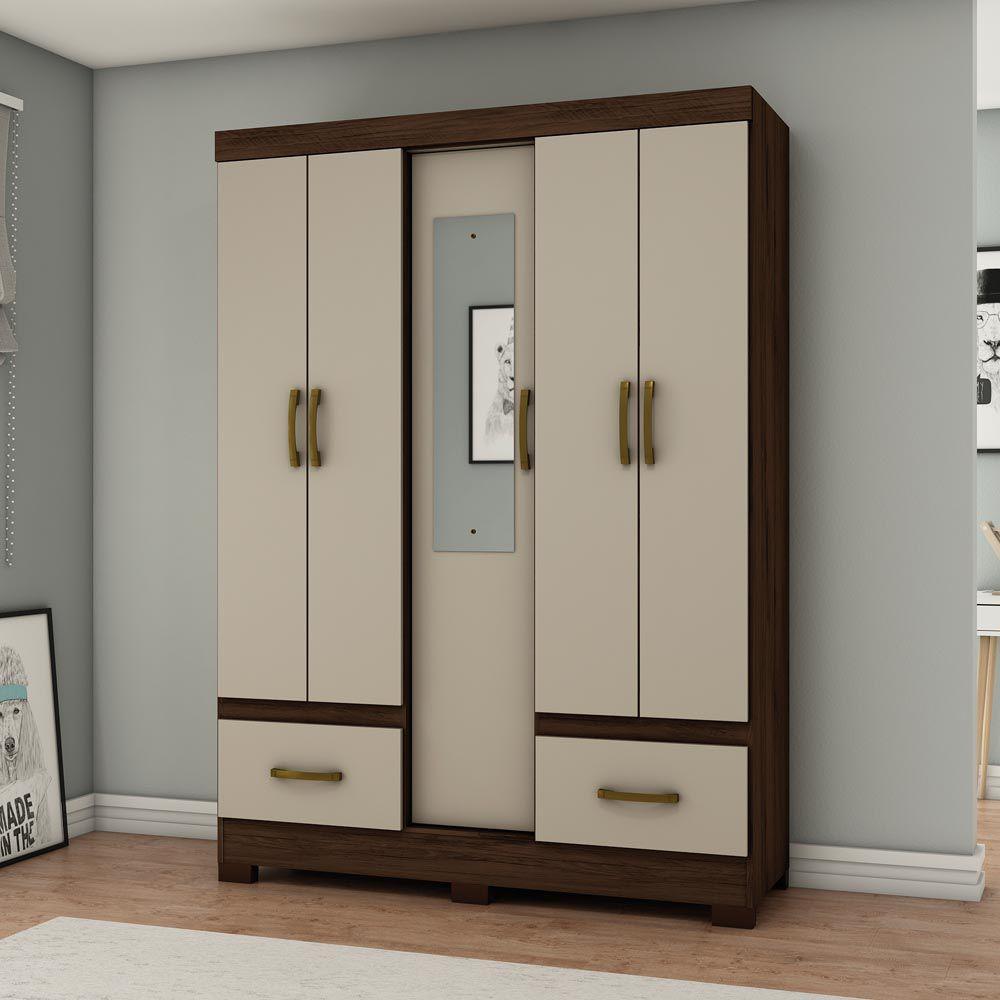 680504e56bd2d Guarda-roupa Solteiro com Espelho 5 Portas 2 Gavetas Henn Briz B60 - Café/