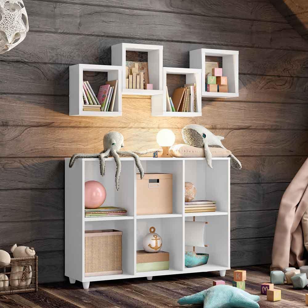 Kit Organizador Infantil com 4 Nichos Aquarela Henn - Branco HP  - LOJA VENEZA