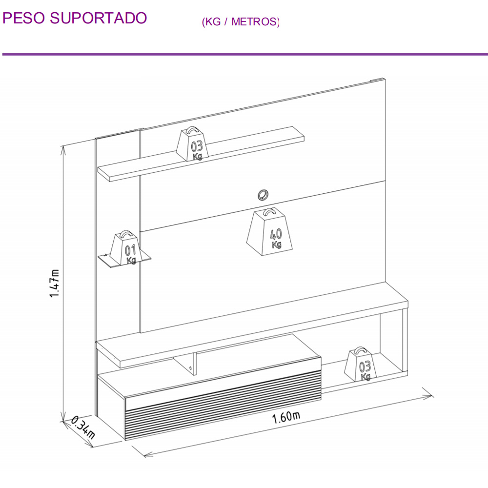 Painel Home Suspenso para TV até 60 pol. Tijuca Linea Brasil - Avelã/Off White  - Loja Veneza