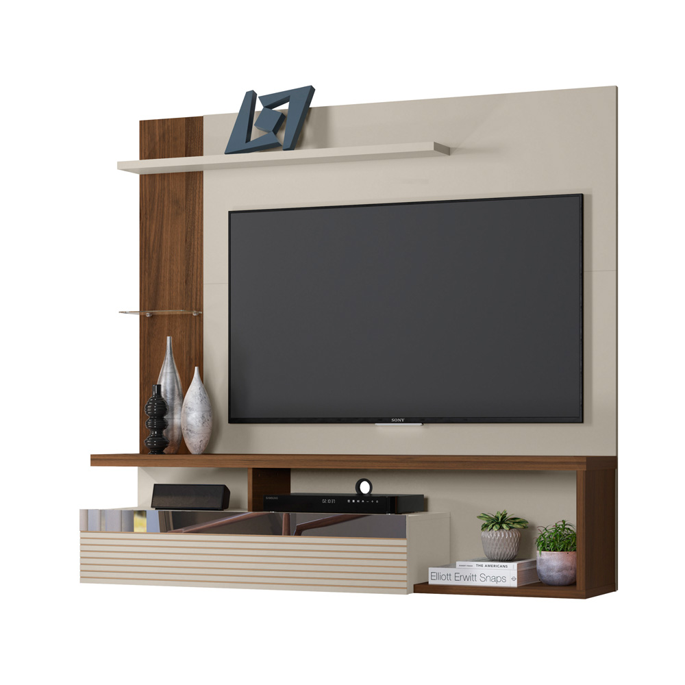 Painel Home Suspenso para TV até 60 pol. Tijuca Linea Brasil - Off White/Nogueira  - Loja Veneza