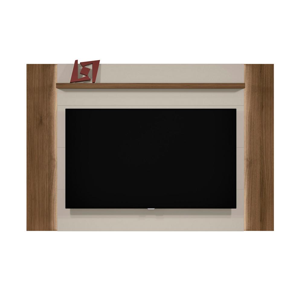 Painel Suspenso para TV até 60 pol. Aurora com Fita de LED Linea Brasil - Off White/Nogueira  - Loja Veneza