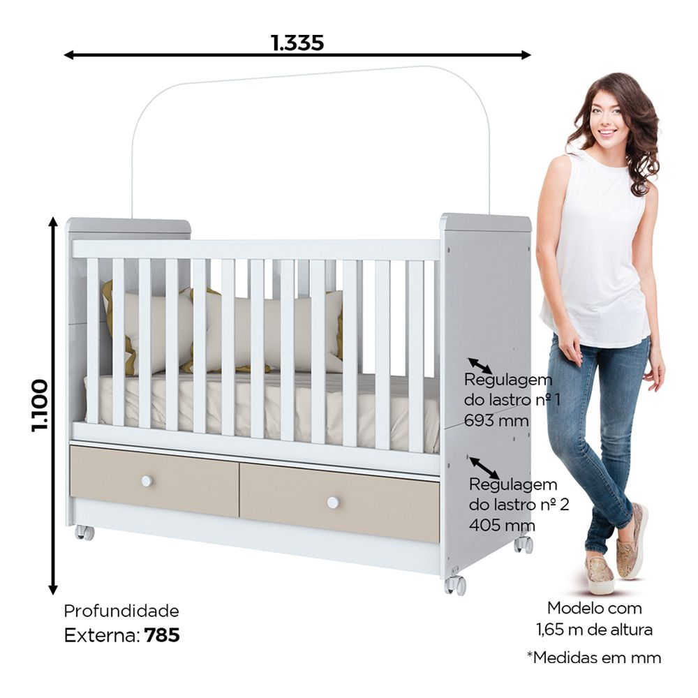Quarto de Bebê Aquarela com Berço Mini-cama, Cômoda e Guarda-roupa Henn - Cristal/Branco  - Loja Veneza