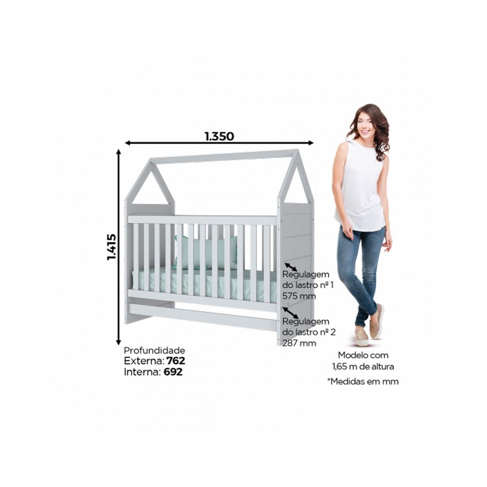 Quarto de Bebê com Berço Montessoriano, Cômoda E Guarda-roupa Americano Henn - Branco HP Fosco  - Loja Veneza