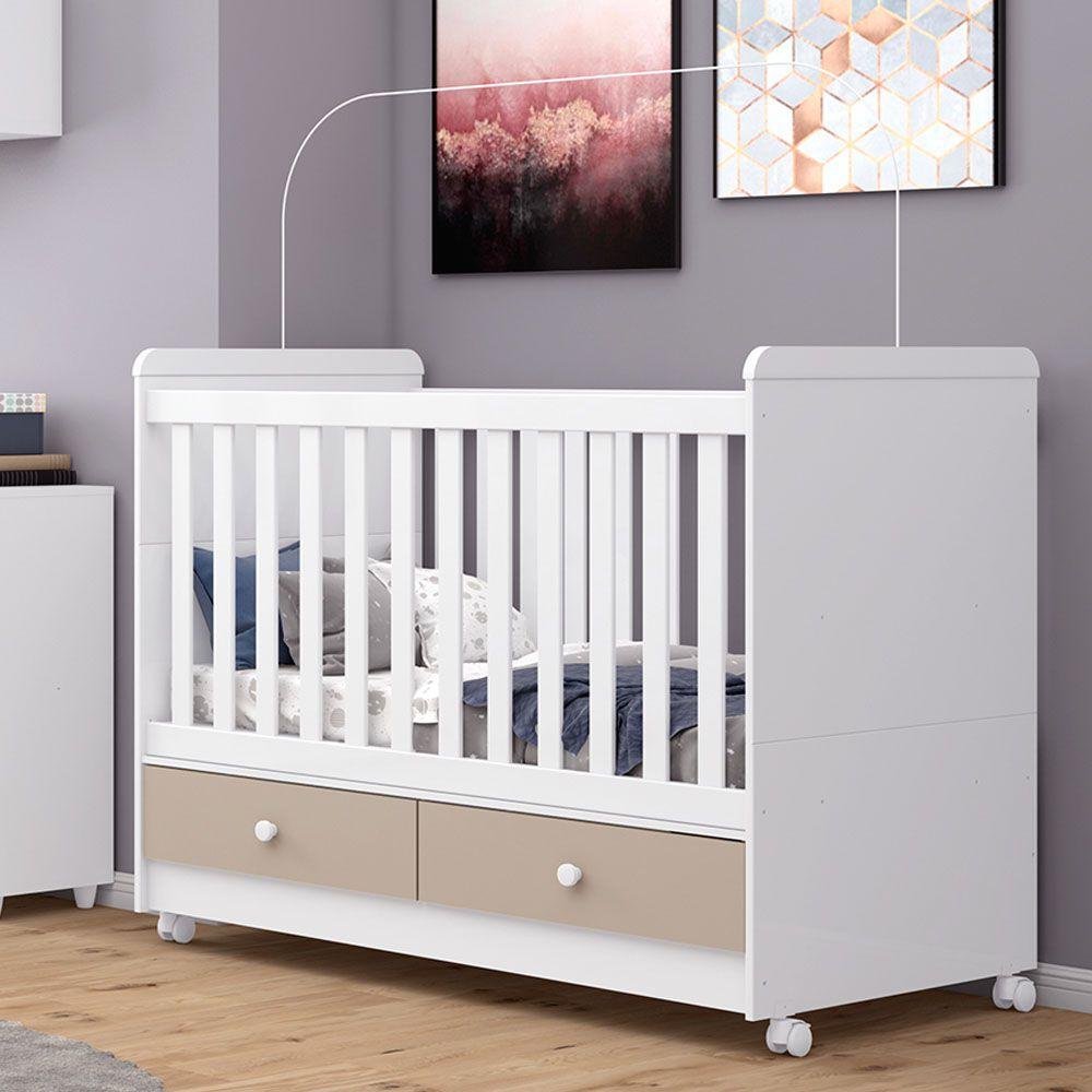 Quarto de Bebê Completo Adoleta com Berço Mini-cama, Cômoda e Guarda-roupa - Branco/Cristal/Colorido  - Loja Veneza