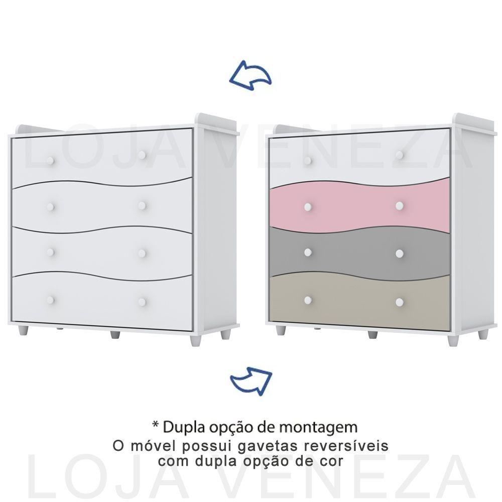 Quarto de Bebê Completo Adoleta com Berço Mini-cama, Cômoda e Guarda-roupa - Branco Flex Color  - LOJA VENEZA