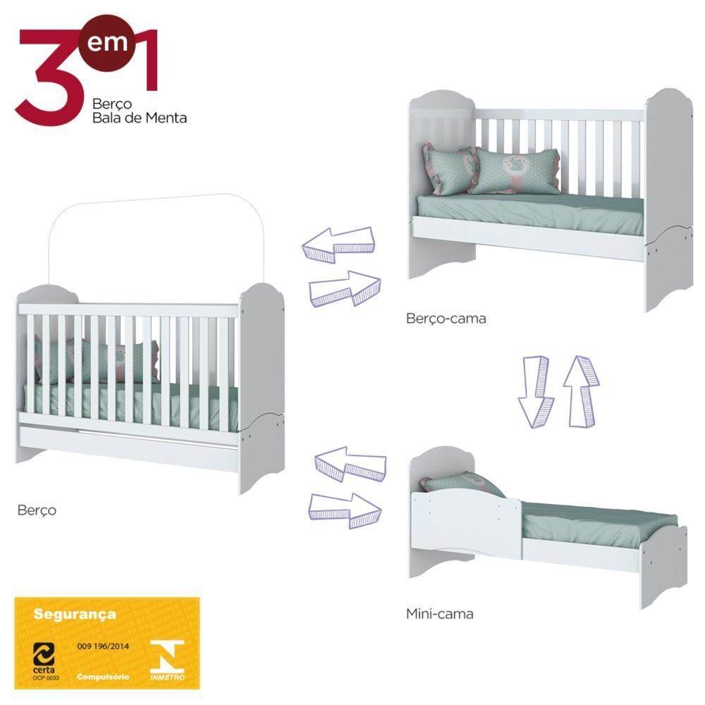 Quarto de Bebê Completo com Berço, Cômoda e Guarda-roupa Henn Bala de Menta - Branco  - Loja Veneza