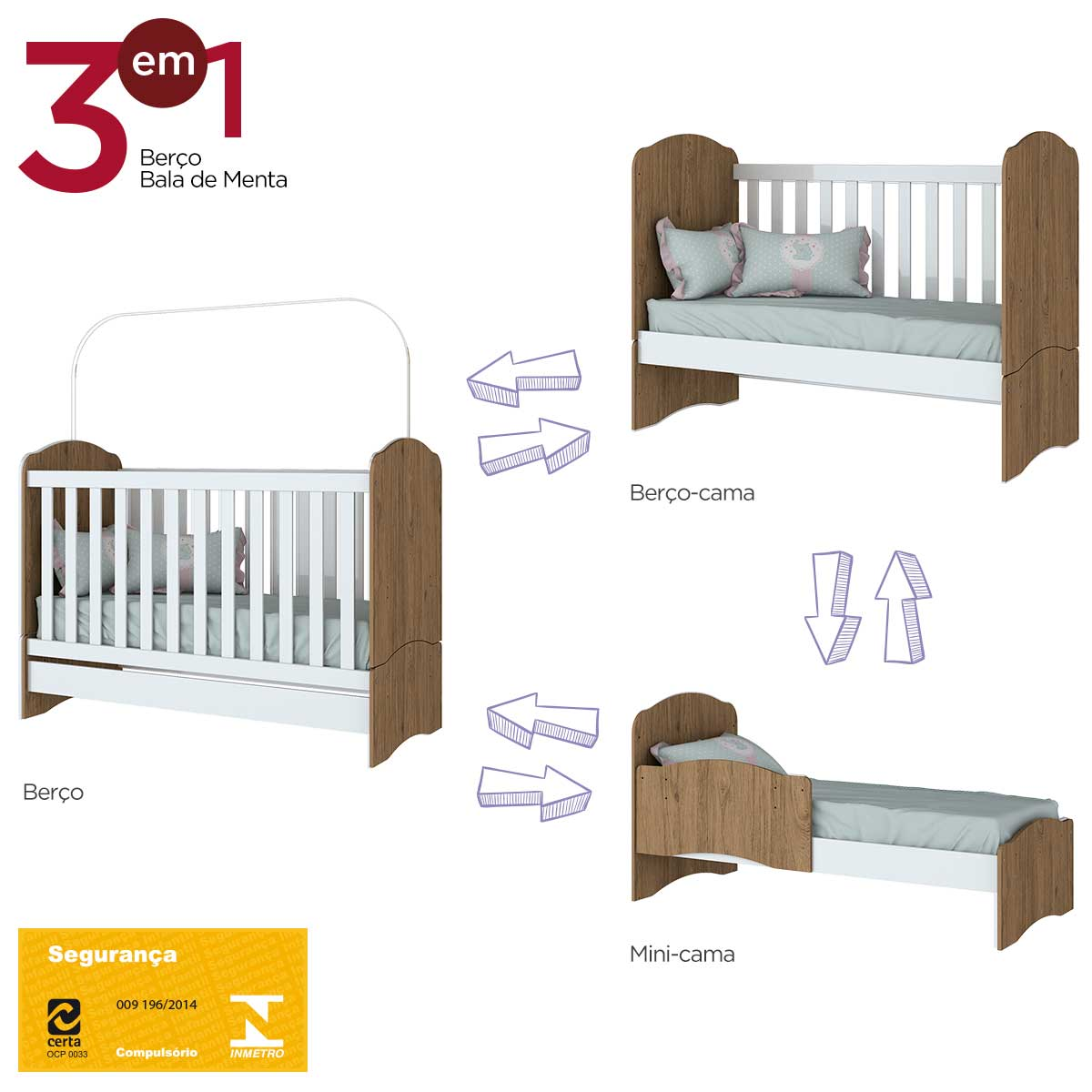 Quarto de Bebê Completo com Berço, Cômoda e Guarda-roupa Henn Bala de Menta - Rústico/Branco  - Loja Veneza