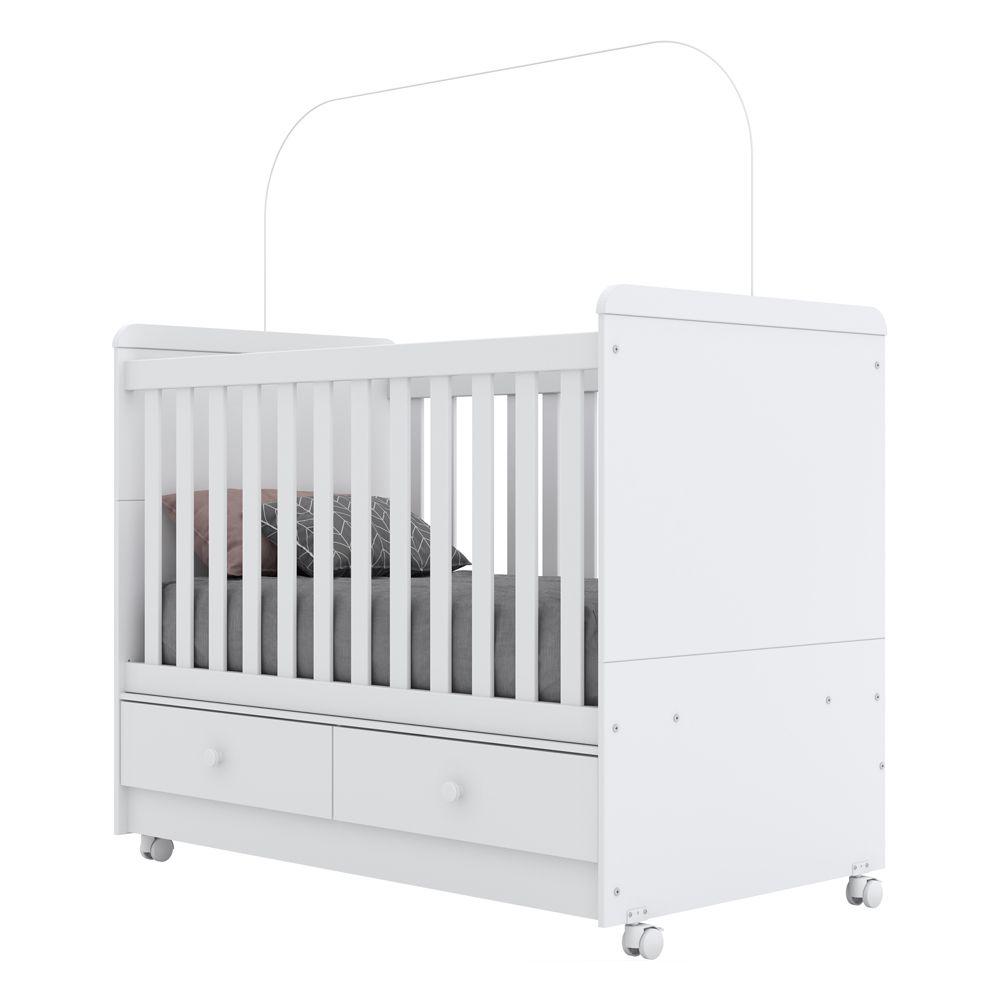 Quarto de Bebê Completo com Berço Mini-cama Aquarela, Cômoda e Guarda-roupa Adoleta - Branco  - LOJA VENEZA