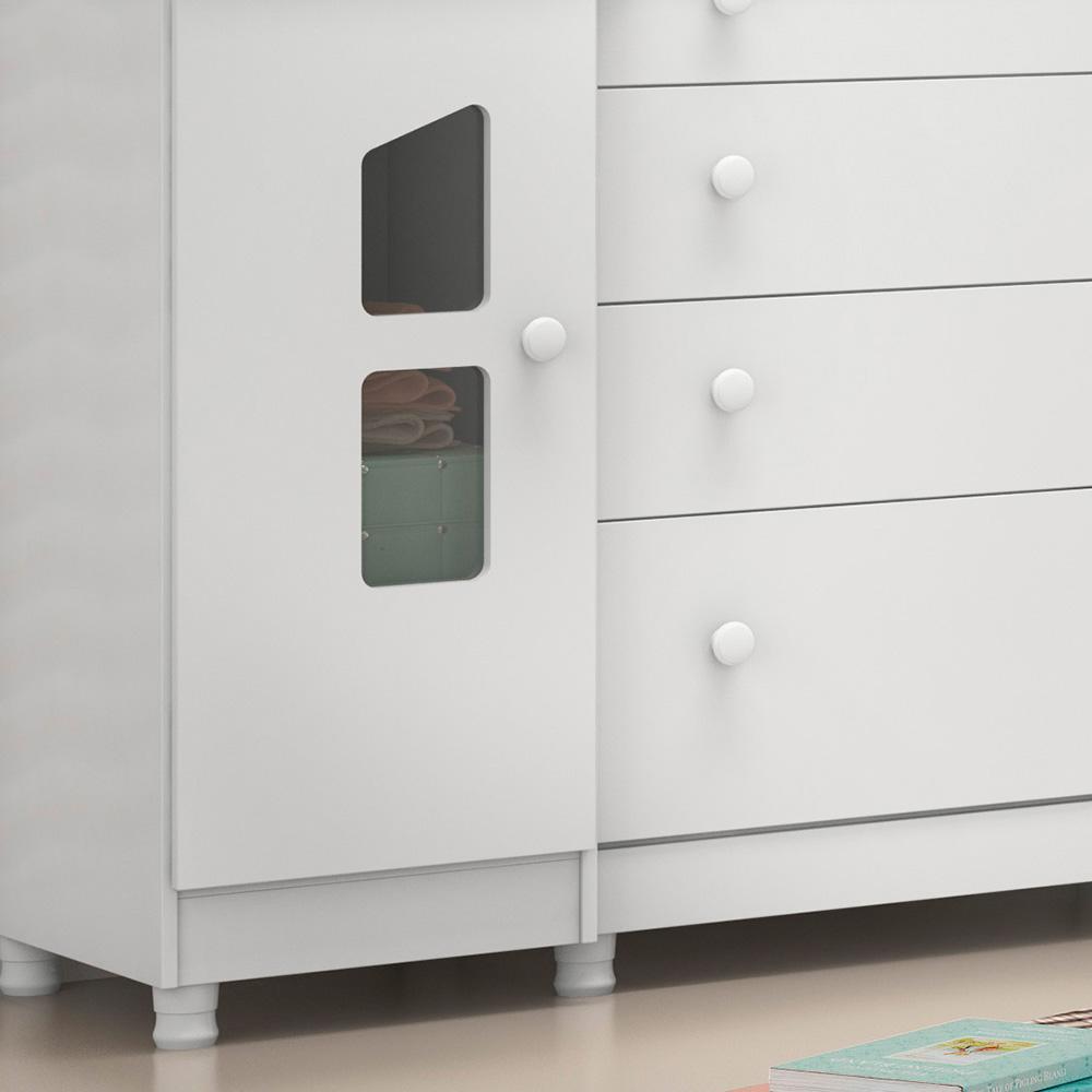 Quarto de Bebê Completo com Berço Mini Cama Colonial, Cômoda E Guarda-roupa Amore Qmovi - Branco  - Loja Veneza