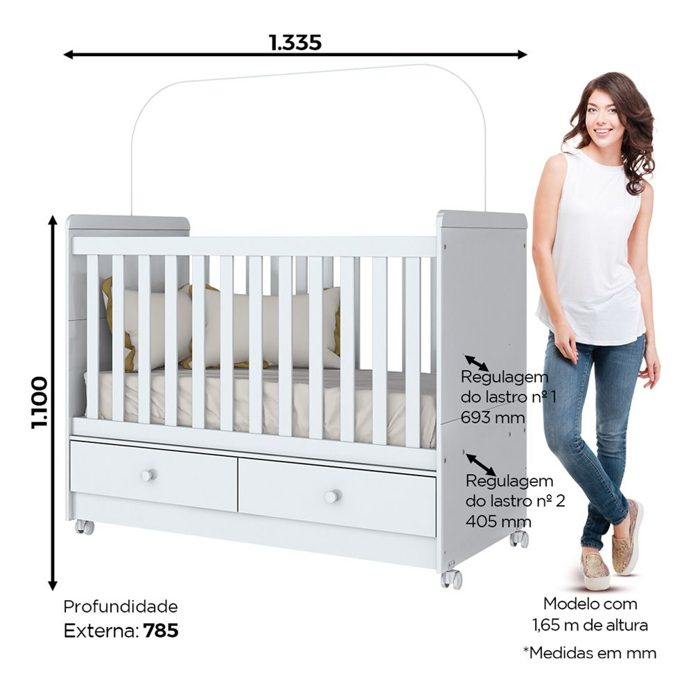 Quarto de Bebê Completo com Berço Mini-cama, Cômoda e Guarda-roupa Aquarela Henn - Branco  - LOJA VENEZA