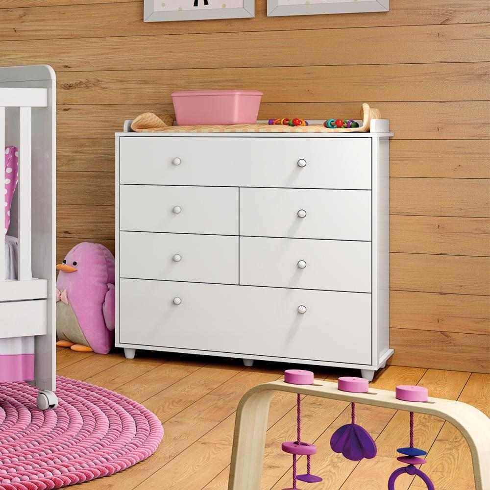 Quarto de Bebê Completo com Berço Mini-cama, Cômoda e Guarda-roupa Henn Pão de Mel - Branco  - LOJA VENEZA