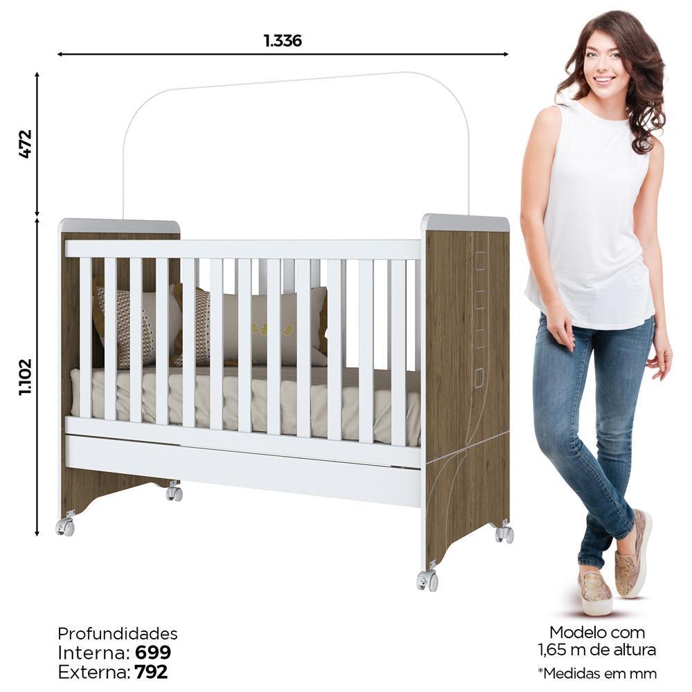 Quarto de Bebê Completo com Berço Mini-cama, Cômoda e Guarda-roupa Henn Pão de Mel - Rústico/Branco  - Loja Veneza