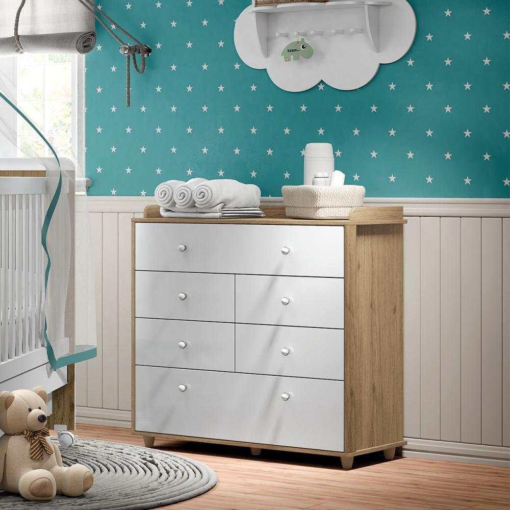 Quarto de Bebê Completo com Berço Mini-cama, Cômoda e Guarda-roupa Henn Pão de Mel - Rústico/Branco