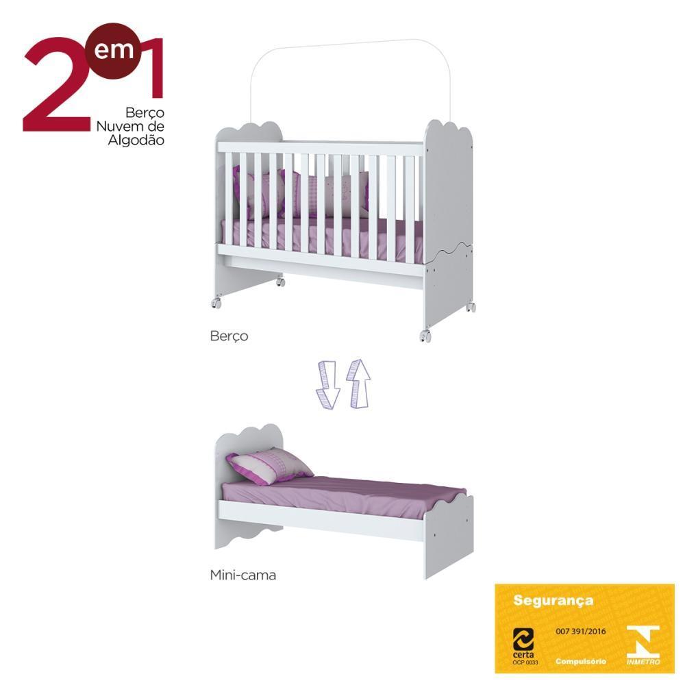 Quarto de Bebê Completo com Berço Mini-cama, Guarda-roupa Caju e Cômoda Flor de Lis - Branco  - Loja Veneza