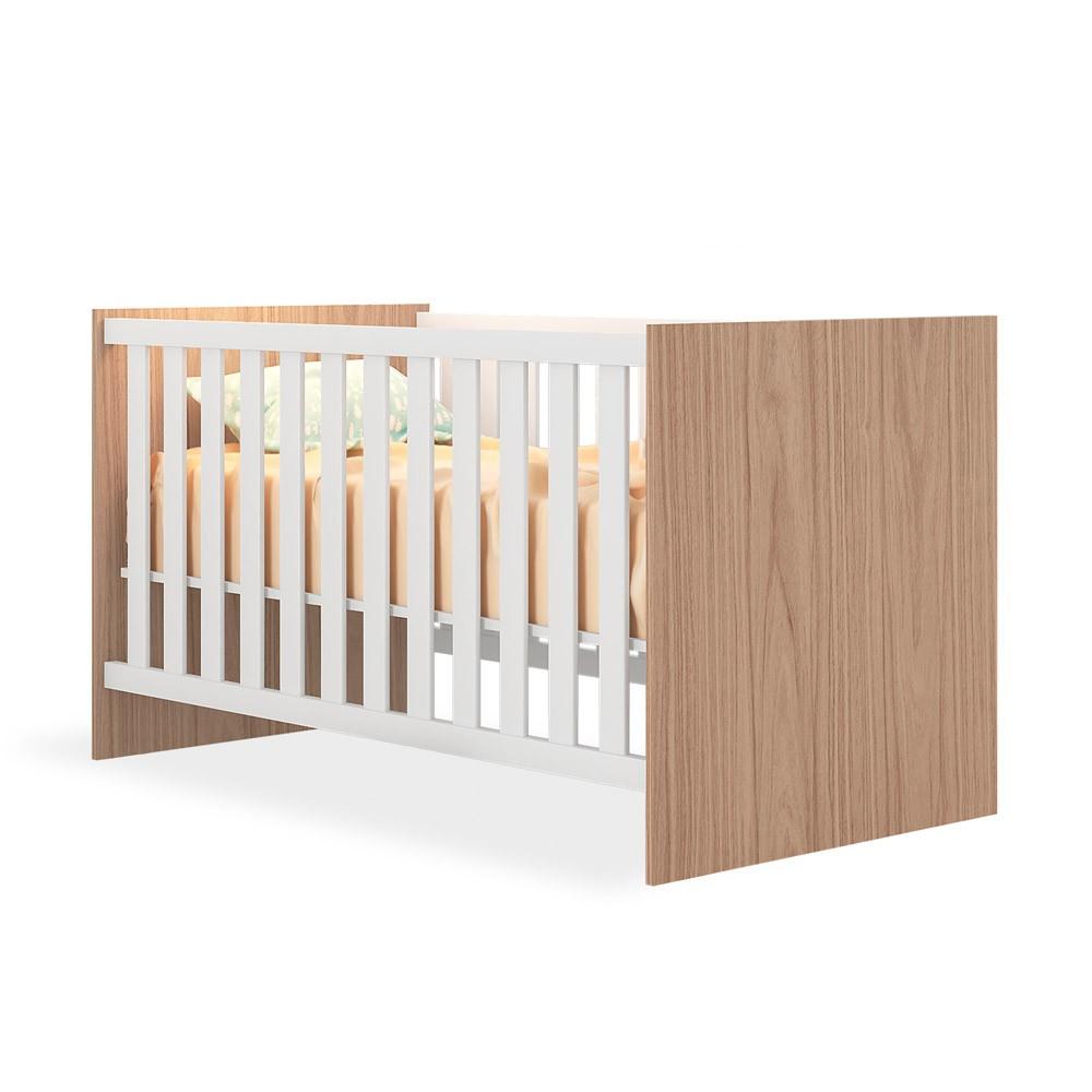 Quarto de Bebê Completo com Guarda-roupa 2 Portas, Berço e Cômoda Doce Sonho Qmovi - Carvalho Rústico/Branco  - Loja Veneza