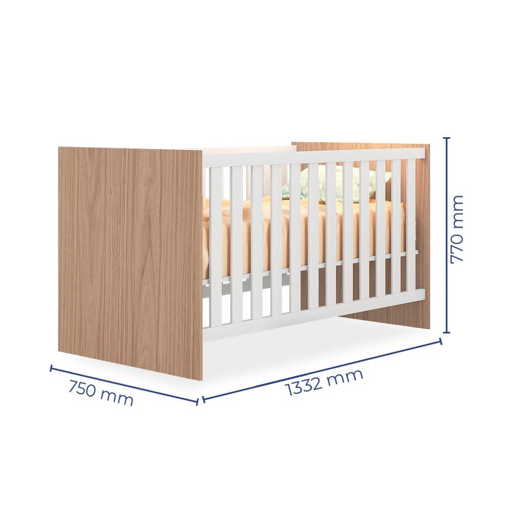 Quarto de Bebê Completo com Guarda-roupa Módulo Infantil, Berço e Cômoda Doce Sonho Qmovi - Carvalho Rústico/Branco  - Loja Veneza