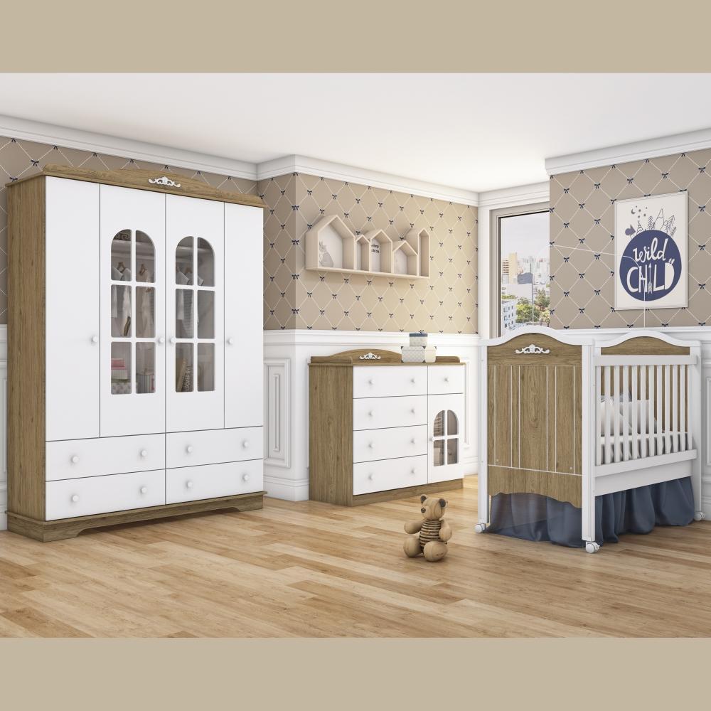 Quarto de Bebê Completo de MDF com Berço Mini-cama, Cômoda e Guarda-roupa Henn Provençal - Rústico/Branco