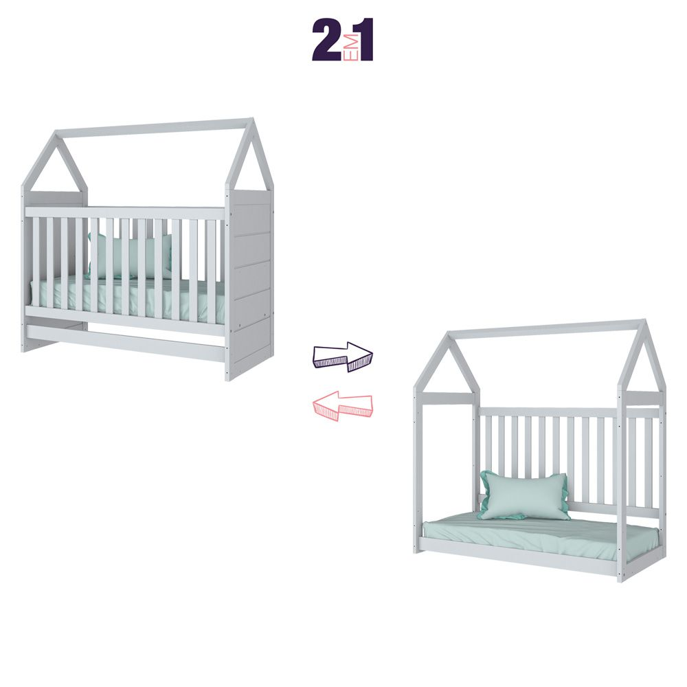 Quarto Infantil com Berço Montessoriano, Cômoda e Guarda-roupa Americano Henn - Branco HP  - LOJA VENEZA