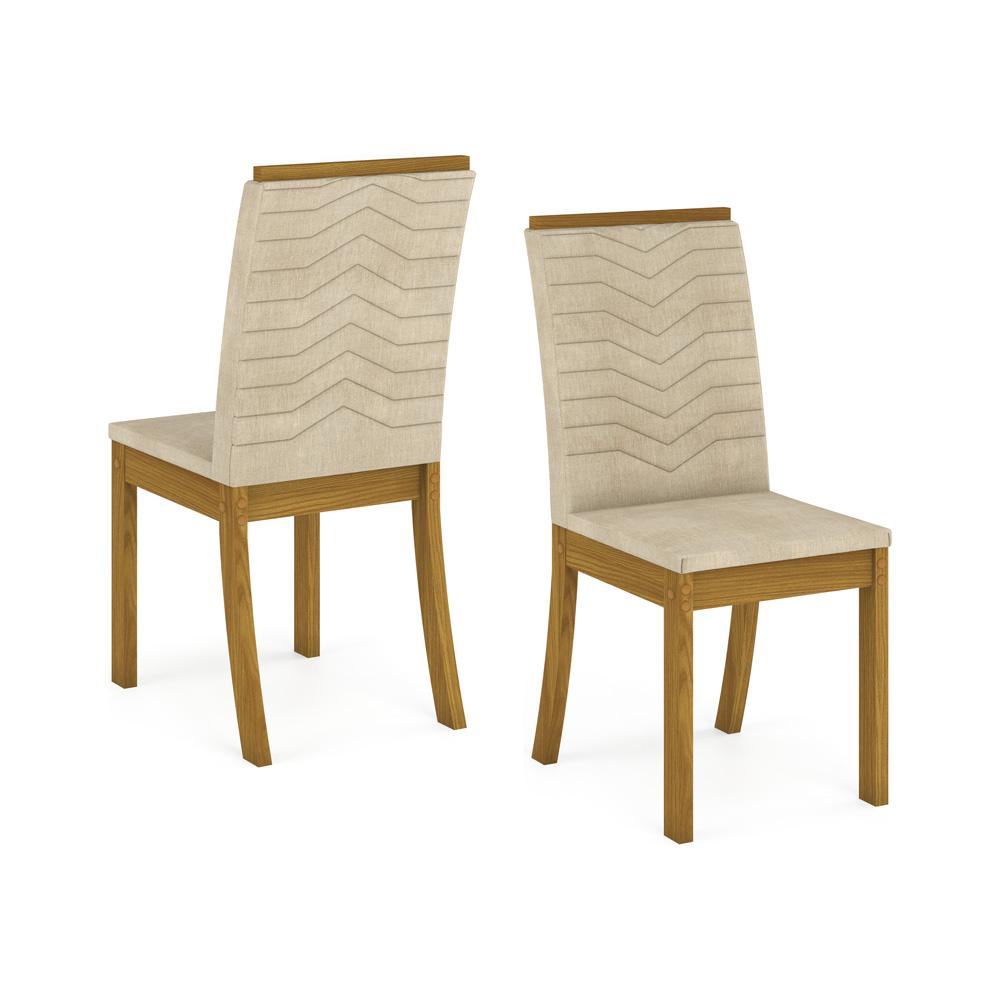 Sala de Jantar com Mesa Chan 140cm e 6 Cadeiras Isa Henn - Nature/Linho  - Loja Veneza