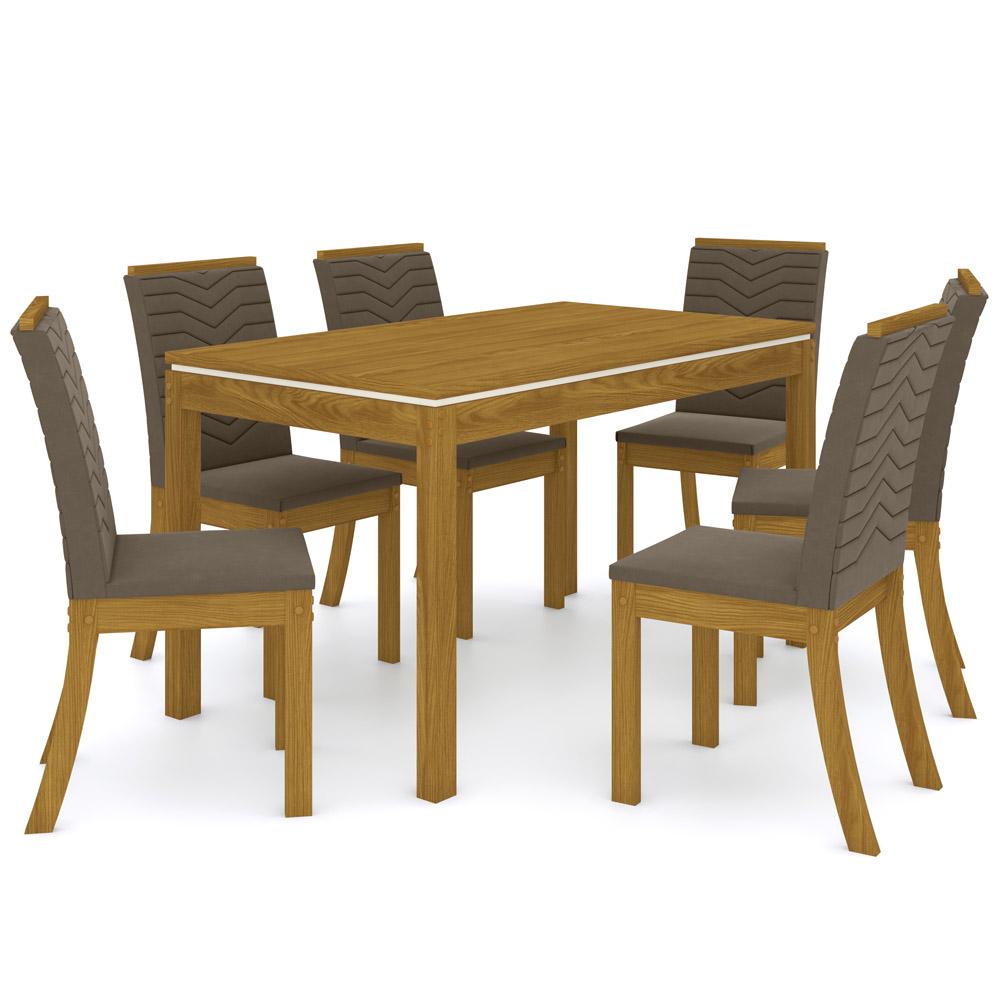 Sala de Jantar com Mesa Lana 140cm e 6 Cadeiras Dina Henn - Nature/Bege  - Loja Veneza