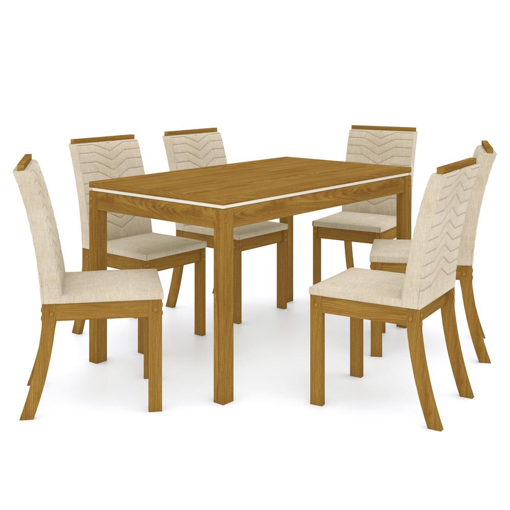 Sala de Jantar com Mesa Lana 140cm e 6 Cadeiras Dina Henn - Nature/Linho  - Loja Veneza