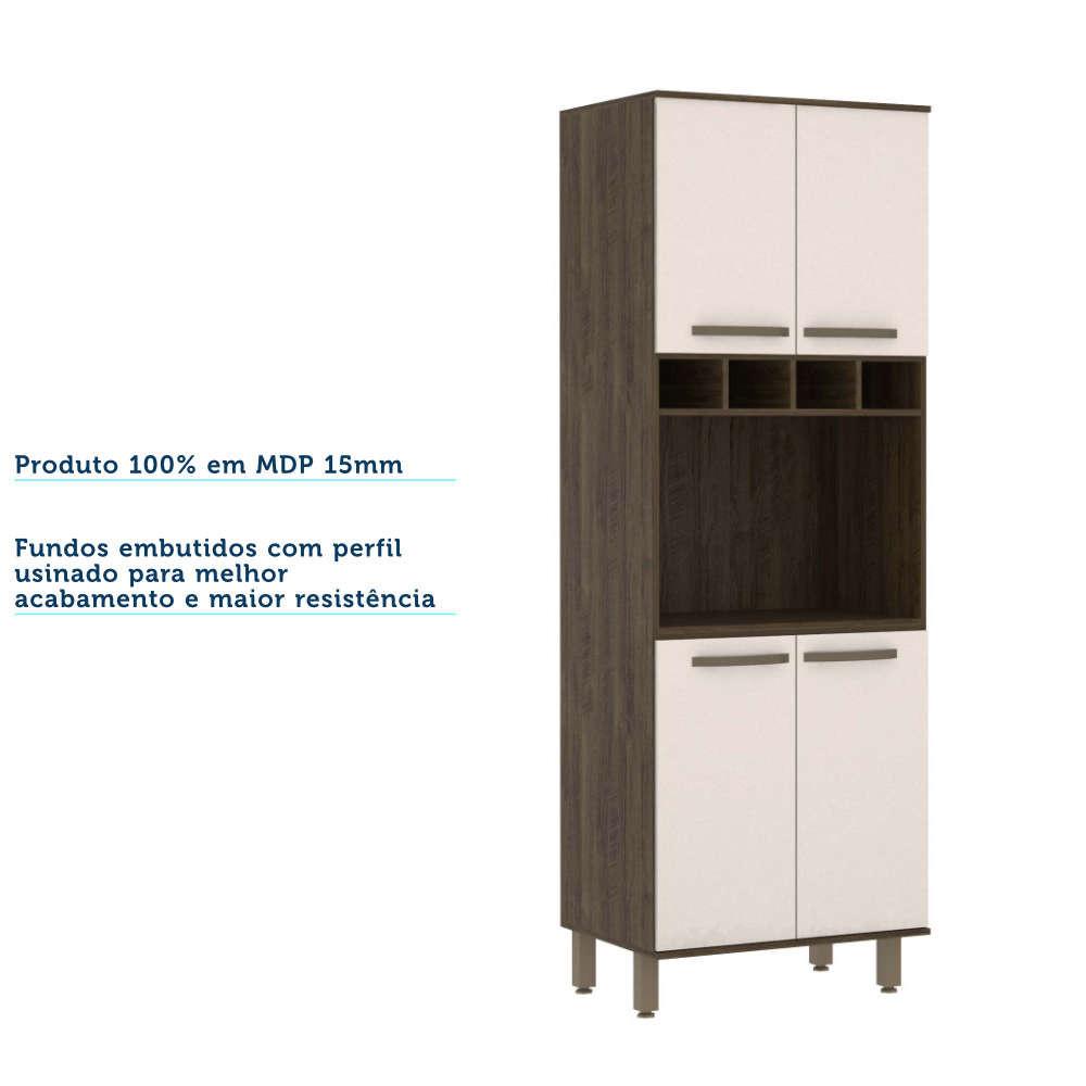 Torre 70 cm para Microondas 4 Portas 1 Nicho Sara Modulado Luciane - Castanho/Pérola Off  - Loja Veneza