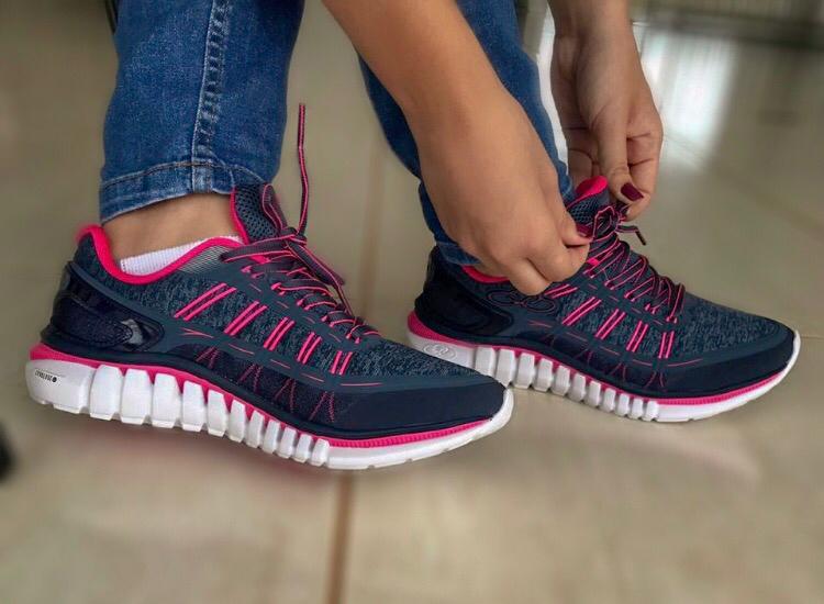 efb02dc1e9 Tênis Olympikus Feminino Action 596 - Marinho Pink - Passarelle Calçados