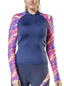 Blusa Para Ciclismo Feminina Elite Marinho Estampada