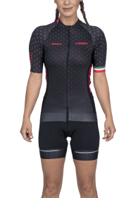 Camisa Ciclismo Supreme Rosa Preto Feminino Woom