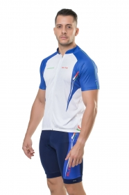 Camisa Para Bike Manga Curta Masculina Elite Branco Royal