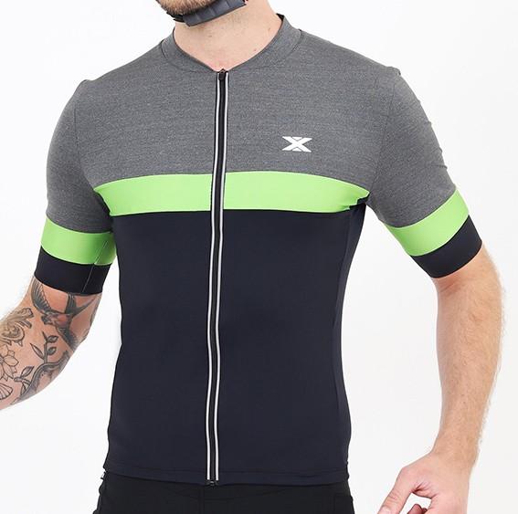 Camisa Ciclismo Ultra Masculina DX3 Mescla e Preta