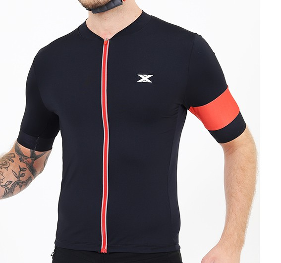 Camisa Ciclismo Ultra Masculina DX-3 Preta e Vermelha