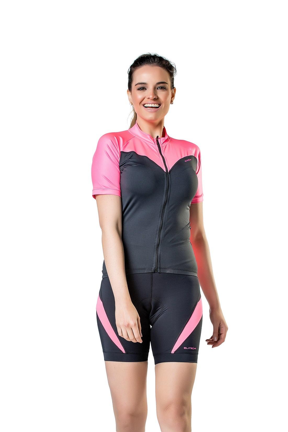 Camisa Manga Longa Para Ciclismo Bike Feminina Elite Preto e Pink