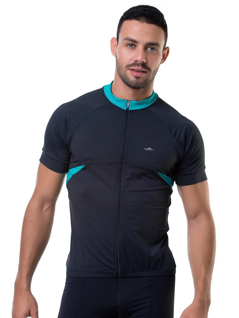 Camisa Para Ciclismo Bike Masculina Elite Preto e Verde